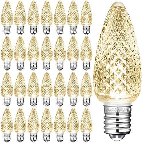 25 Pieces C9 Christmas Lights Outlet Faceted Bulb Warm White LED Replacement Christmas Light Bulbs String Lights Bulb 3 SMD LEDs Candle Shape Bulbs Lights for E17 Socket Holiday Christmas Decor