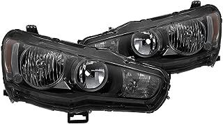 VIPMOTOZ Black Smoke OE-Style Headlight Headlamp Assembly For 2008-2017 Mitsubishi Lancer Ralliart Evolution EVO X Halogen Model, Driver & Passenger Side