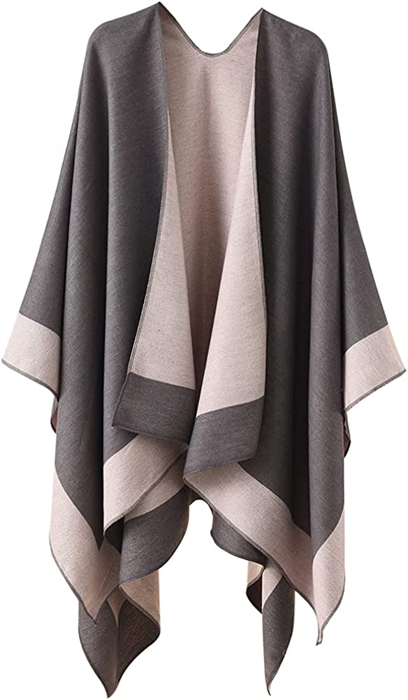 Women's Open Front Shawl Wrap Poncho Ruana Cape Cardigan Sweater for Travel