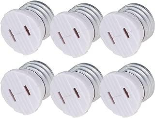 Comyan Bulb Light Plug Socket Adapter,Polarized Handy Outlet Splitter, E26 the US Standard Screw Light Holder, Two Holes, Easy-to-Install, 6 Pack, White