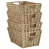VonHaus Set of 4 Seagrass Storage Baskets with Insert Handles Ideal...