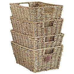 Set of 4 Seagrass woven Storage Baskets with Insert Handles