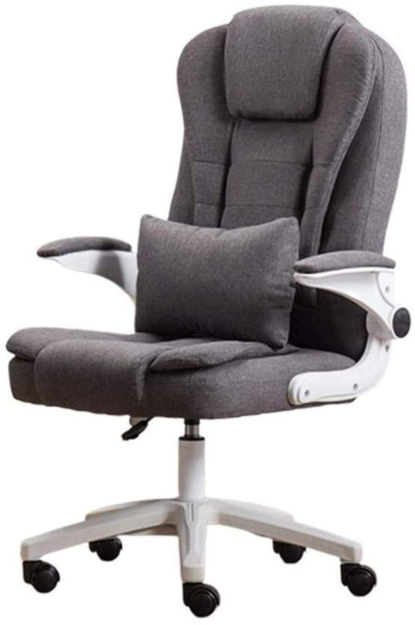 現代大聖堂馬鹿げたオフィスチェア、ファブリックハイバックスイベルチェアエグゼクティブタスクコンピュータゲームチェア高さ調節可能回転式バンドウエストクッション ひざまずく椅子