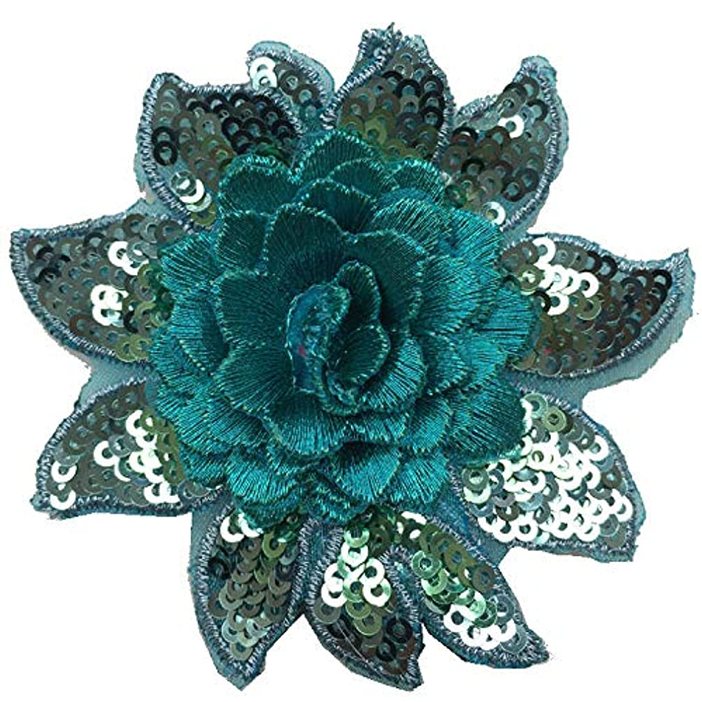 1pcs Flower Patches Sequins Embroidery Arts Crafts Sewing Patches(Diameter:3.2inch/8cm) (Lake Blue)