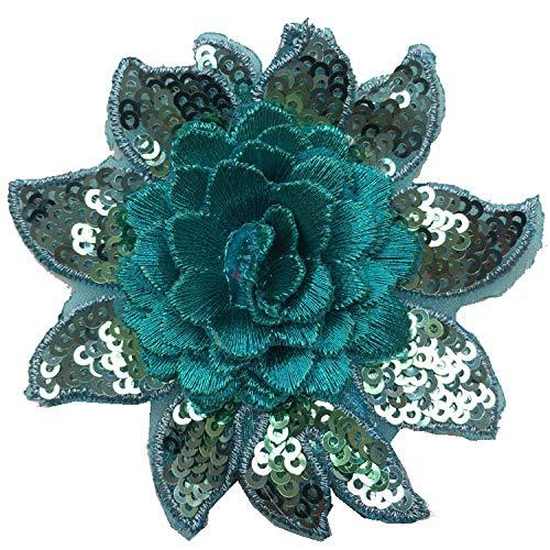 Blumen Stickerei Pailletten Aufnäher Patch Applique DIY Jeans Kleidung Nähen Dek
