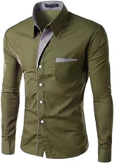 Jaycargogo Mens Long Sleeve Plus Size Versatile Back Cotton Western Shirt