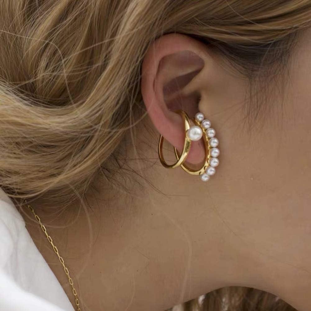 FRIDG Earrings, Fashion Women Faux Pearl Ear Cuffs Clip On Earrings Non Piercing Jewelry Gift Golden