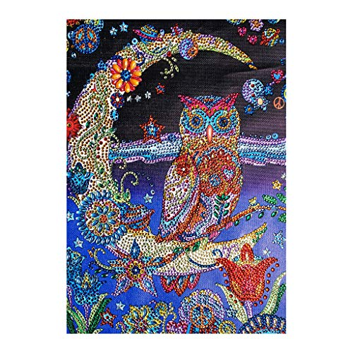 liumiKK Moon and Owl 5D DIY Special Diamond Painting Embroidery Drill Needlework Cross Craft Stitch Kit Home Decor