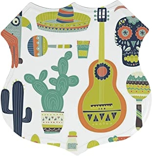 C COABALLA Fiesta Individual Polygon Tin Sign,Symbols from Mexico Guitar Face Aztec Mask Tequila Skull Musical Instruments Taco Decorative for Bars,12