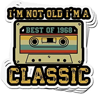 shopdoz 3 PCs Stickers Vintage Cassette I'm Not Old I'm A Classic 1968 51st Birthday 3×4 Inch Die-Cut Wall Decals for Laptop Window