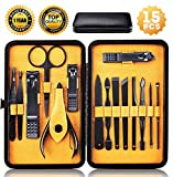 Nail Clippers Sets High Precisio Stainless Steel Nail Cutter Pedicure Kit 15 Pcs Nail File Sharp Nail Scissors and Clipper Manicure Pedicure Kit Fingernails & Toenails with Portable stylish Case