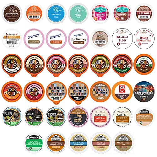 Perfect Samplers Single Serve Variety Pack, Flavored Coffee Pods, Hot Chocolate, Tea & Cappuccino Pods - Variety Pack for Keurig K Cups Machines, 40 Count
