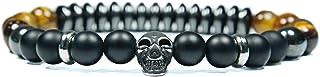 Skulls and Spirits - Convoy Ojo de Tigre - Pulsera con cranio de acciaio inossidabile, onix y hematite (hecho en España)