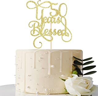 Gold Glitter 50 Years Blessed Cake Topper - for 50th Wedding Anniversary / 50th Anniversary Party / 50th Birthday Party Decorations