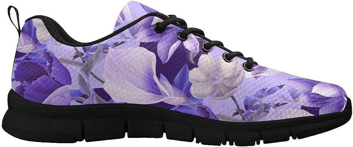 InterestPrint Purple Flowers Women's Lace Up Running Comfort Sports Sneakers