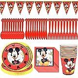 Vajilla de fiesta de Mickey, 71 Pcs Set de Fiesta de Cumpleaños de Mickey, Vajilla Mickey Platos de Papel Servilletas y Manteles Sirve para 10 Invitados para Niños Baby Shower