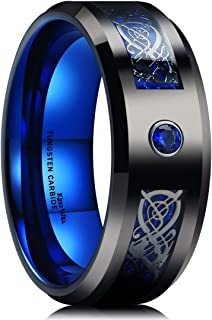 King Will GEM 8mm Mens Celtic & Red/Blue Cubic Zircon Inlay Black Tungsten Carbide Wedding Ring Comfort Fit