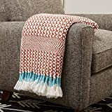 Amazon Brand – Rivet Modern Hand-Woven Stripe Fringe Throw Blanket, Soft and Stylish, 50' x 60', Burnt Sienna Orange and Teal
