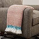 "Amazon Brand – Rivet Modern Hand-Woven Stripe Fringe Throw Blanket, Soft and Stylish, 50"" x 60"", Burnt Sienna Orange and Teal"