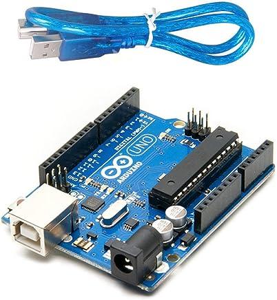 Arduino Uno R3 Development Board, Kit Microcontroller Based on ATmega328 and ATMEGA16U2 with USB Cable for Arduino, Original(Arduino Uno R3)