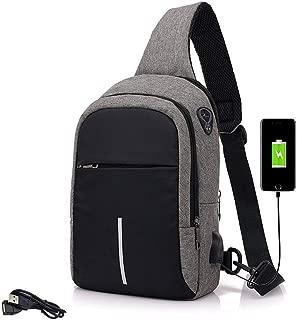 Anti Theft Sling Bag Men & Women,with USB Charging Port,Sport Croosbody Backpack