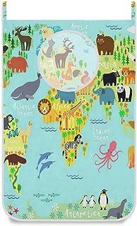 Panier à linge suspendu sac carte du monde forêt animale porte / mur / placard suspendu grand sac à linge panier pour orga...