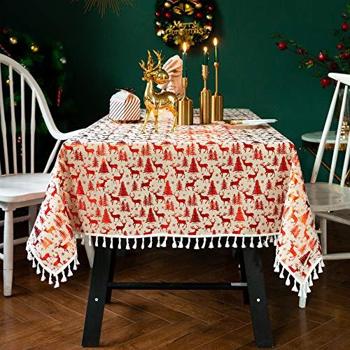 Christmas Halloween Theme Tablecloth Cotton Linen Quicksand Table Runner