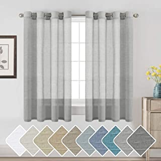 H.VERSAILTEX Luxurious Natural Linen Curtains - Functional Light Filtering Linen Sheer Curtains, Nickel Grommet Top Window Treatments Semi-Sheers for Kitchen - Dove Gray - 52