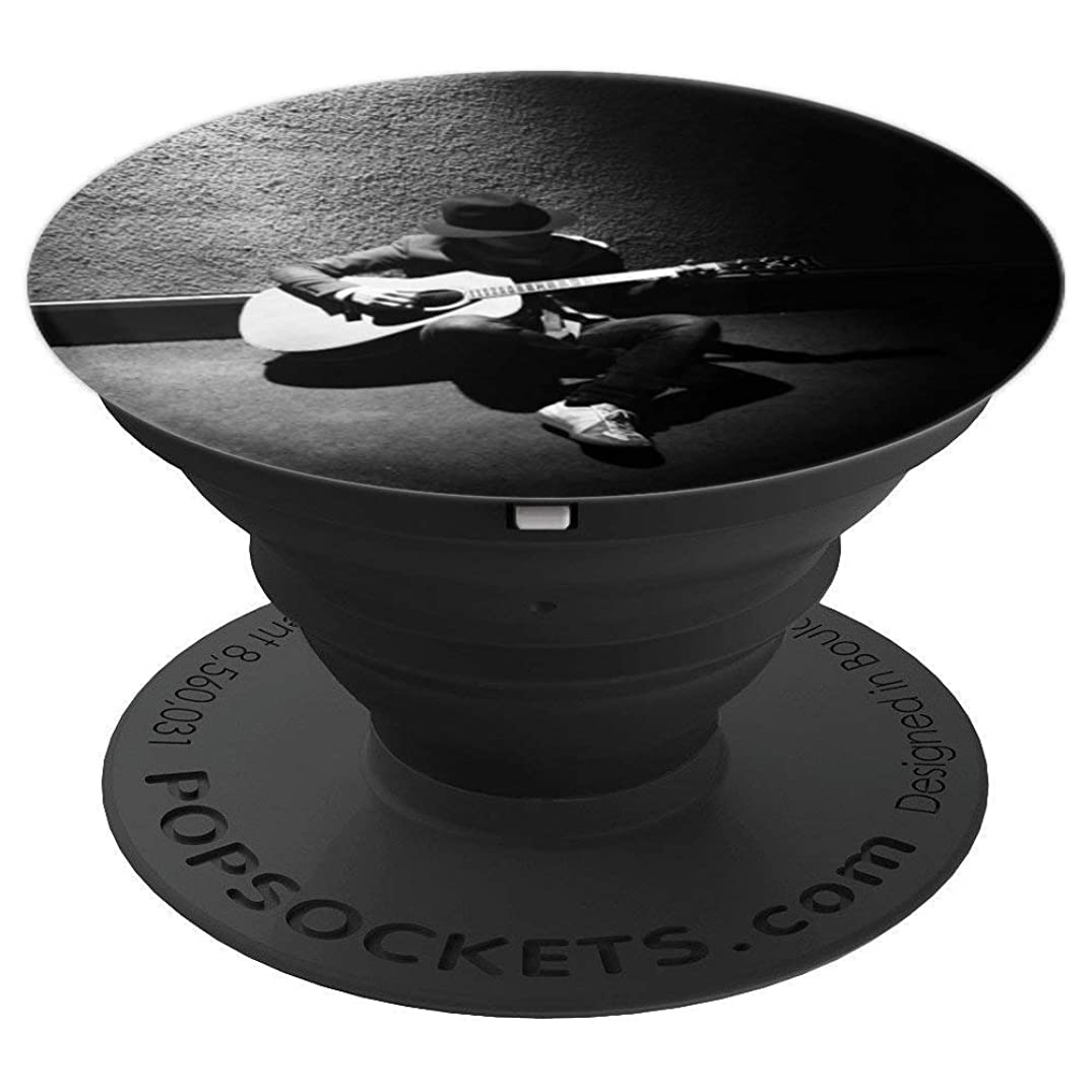 Cool Acoustic Guitar Player Black and White Gift Grip - PopSockets Grip and Stand for Phones and Tablets