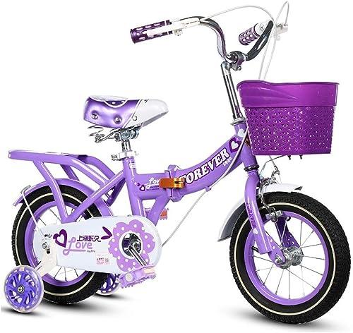 LJFYMX Vélo de Garçon Vélo pour Enfants vélo Pliant bébé vélo 2-10 Ans Fille calèche extérieur Enfant Unique Pique-Nique vélo Vélo de Montagne ( Couleur   violet , Taille   D )