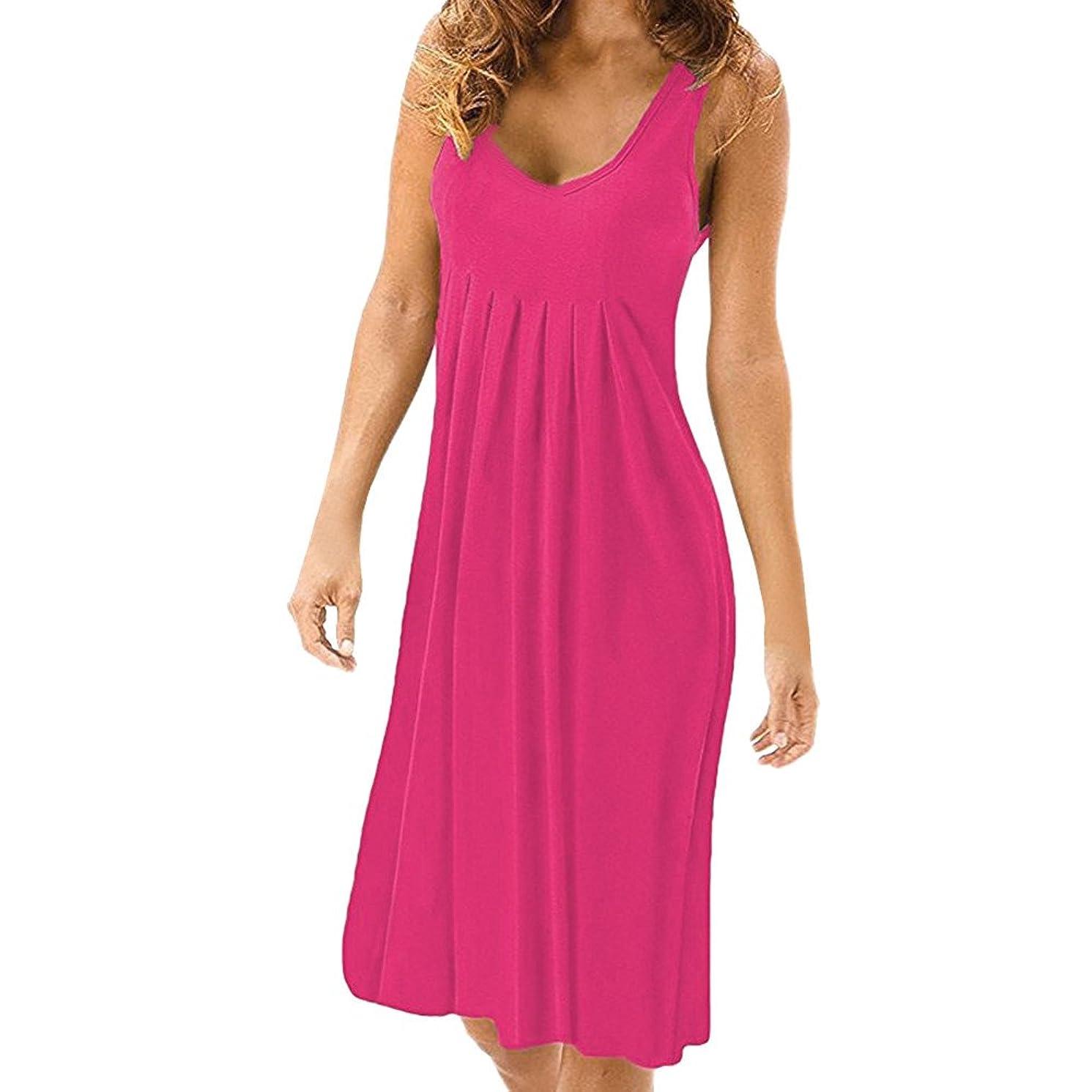 Auimank HOT!2019d Women Summer Sexy Solid Sleeveless Plain Pleated Casual Mini Dress