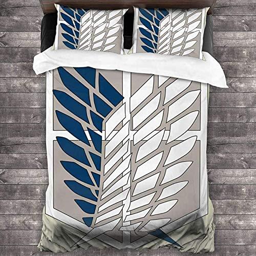 POMJK Attack on Titan - Juego de ropa de cama (3 piezas, 2 fundas de almohada (A01, King220 × 240 cm + 80 cm × 80 cm)