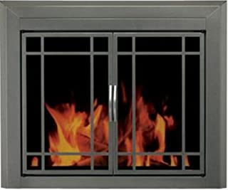 Pleasant Hearth Edinburgh Glass Firescreen Gunmetal - Large