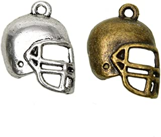 Pomeat 50 Pcs Vintage Sport Theme Charms Alloy Football Helmet Charms Beads for Jewelry Making, Antique Silver and Antique Bronze