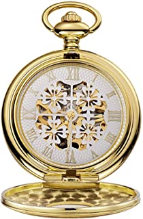 Watch Fashion Gift Four-Leaf Clover Manual Winding Perspective Bottom Cover Mechanical Pocket Watch, Fashion Watch (Color : Gold, Size : 4.7x1.5cm)