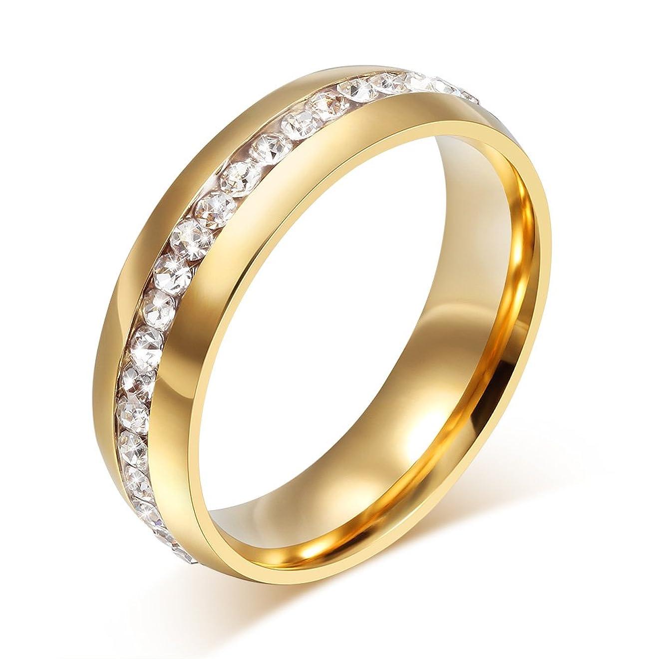 リビジョン彼らはプレートVnox リング 指輪 レディース ステンレス リング 幅広 ラインストーン シンプル カップル恋人 ピンキーリング プレゼント 婚約指輪 アレルギー対応 ゴールド9号
