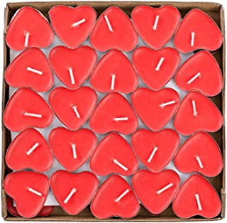 YMOON 50 Pack Heart Shaped Unscented Tea Lights Candles – Smokeless Tealight Candles - Decorations for Wedding, Party, Votives, Oil Burners and Christma (Red)