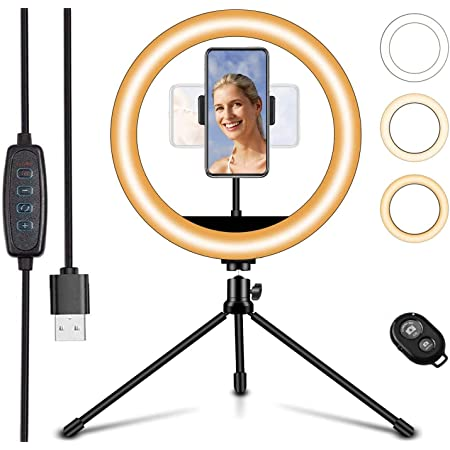 """LED Ring Light 10"""" Selfie Ring Light with Tripod Stand & Phone Holder, Dimmable Desk Makeup Light, Perfect for Live Streaming, TikTok, YouTube Video, Photography (1 Phone Holder)"""
