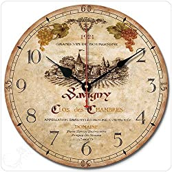 wenxuan 12 Retro Vintage Wine Estate French Style Non-Ticking Silent Wooden Wall Clock Art Decoration.