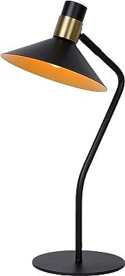 Lucide 05528/01/30 Lampe de table, Acier, 40 W, Noir, Or Mat/Laiton