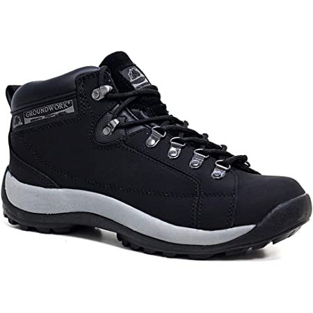 Groundwork Mens Leather Uppers Smart/Casual Lace up Steel Toe Cap Safety Boots (UK7, 387 Black)