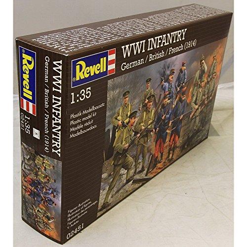 Revell 02451 Modellbausatz Figuren 1:35 - WWI INFANTRY German/British/French (1914) im Maßstab 1:35, Level 4, originalgetreue Nachbildung mit vielen Details