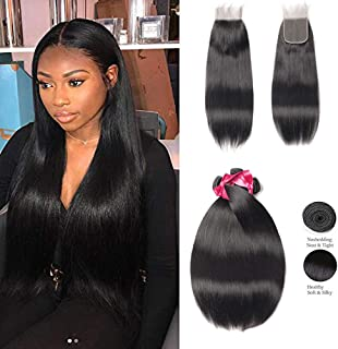 Beaudiva Hair Brazilian Straight Hair 3 Bundles with 4x4 Lace Closure(12