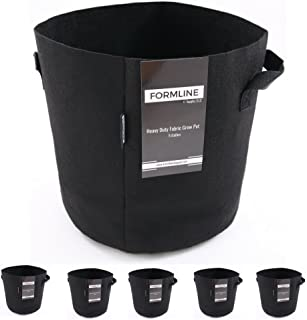 Formline Supply Premium 5 Gallon Grow Bags [Pack of 5]. Fabric Flower Pots are The Smart Way to Garden. Add These Heavy Duty Planters to Your Grow Tent Kit or Hydroponic System to Increase Yields.