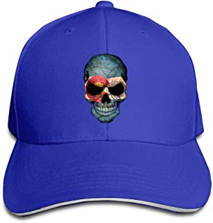 ONE-HEARTHR Adult Vintage Colorado Skull Cotton Lightweight Adjustable Peaked Baseball Cap Sandwich Hat Men Women