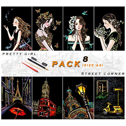 Rainbow Scratch Painting Paper By BOTEEN, City Series Night Scene,Scratch Painting Creative Gift,Scratchboard for Adult and Kids,with 4 Tools,Size:11.7''x8.3''(8pack)