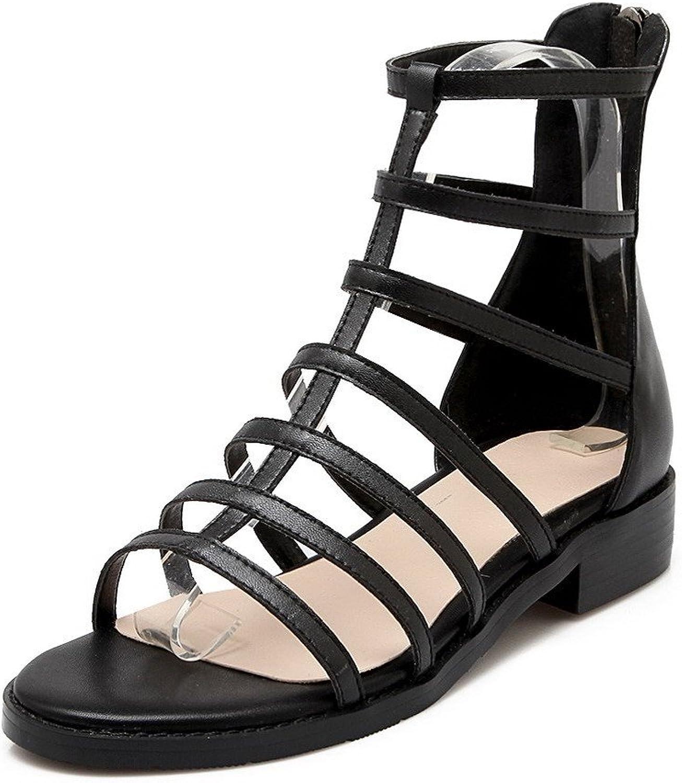 AmoonyFashion Women's Blend Materials Open Toe Low Heels Zipper Solid Sandals