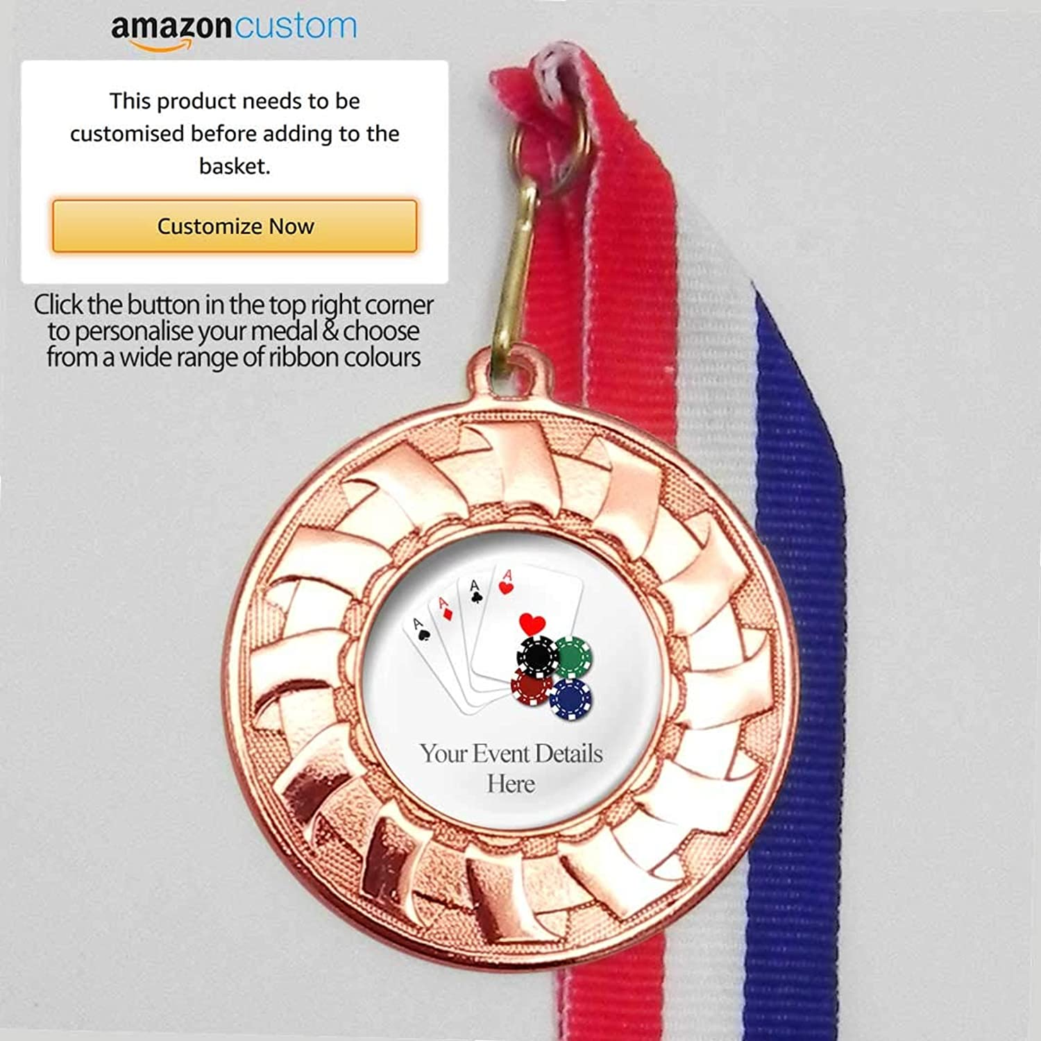 50 x Personalised Poker Medals On Ribbons