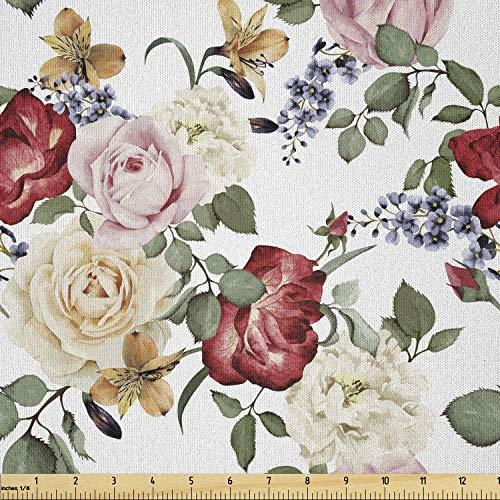 Lunarable Floral Fabric by The Yard, Vivid Floral Pattern with Pastel Roses Vintage Inspired Retro Romantic Boho Art, Microfiber Fabric for Arts and Crafts Textiles & Decor, 1 Yard, Green Beige