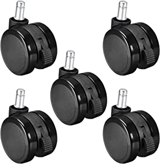 uxcell Swivel Caster Wheels - 2.35 Inch Pu Twin Wheel Push-in 11mmx22mm Stem Swivel Caster Black with Brake 5pcs